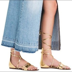 ZARA Gold Lace Up Gladiator Sandals Flats Size 9